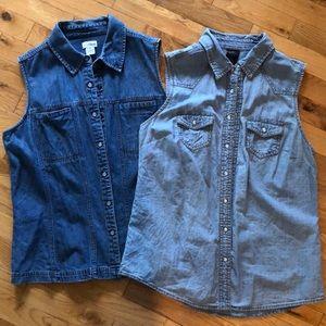 Lot of 2 sleeveless denim snap-front tops